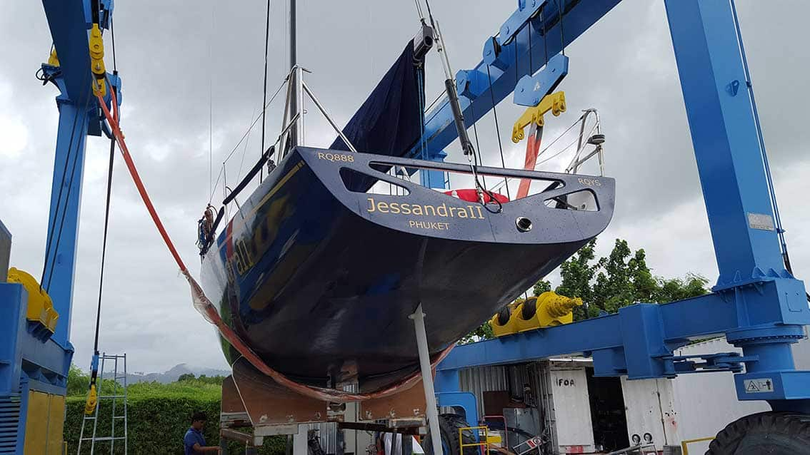Racing yacht at Royal Phuket Marina hardstand
