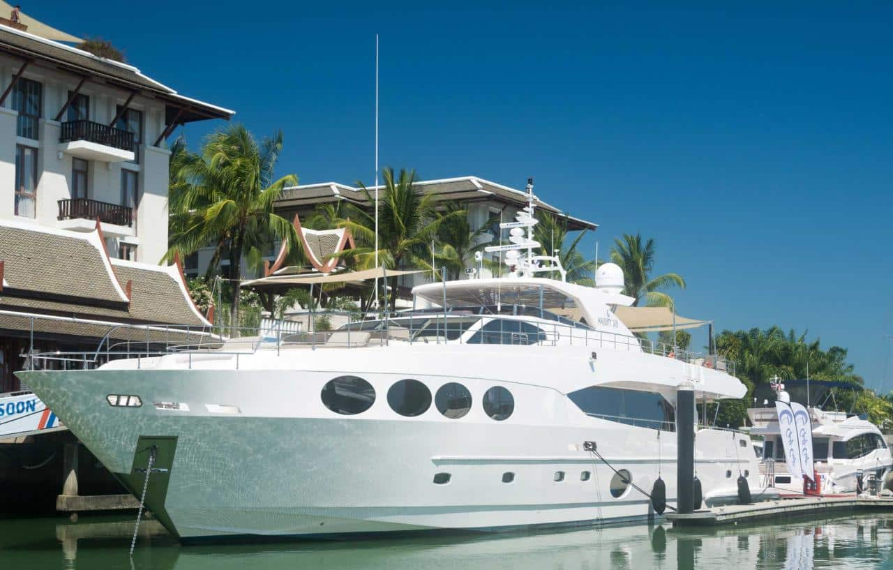 The Majesty 105 superyacht was the largest boat on display at the show.